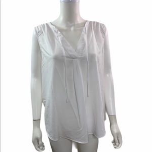 Merona Woven Knit Solid White V Neck Blouse